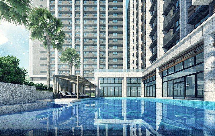 新潤興業A18中庭打造天光泳池,獨具時尚感。 業者/提供