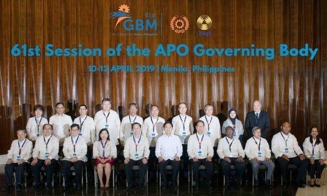經濟部工業局長呂正華(前排左二)率團參加在馬尼拉舉辦的APO第61屆理事會議。 ...