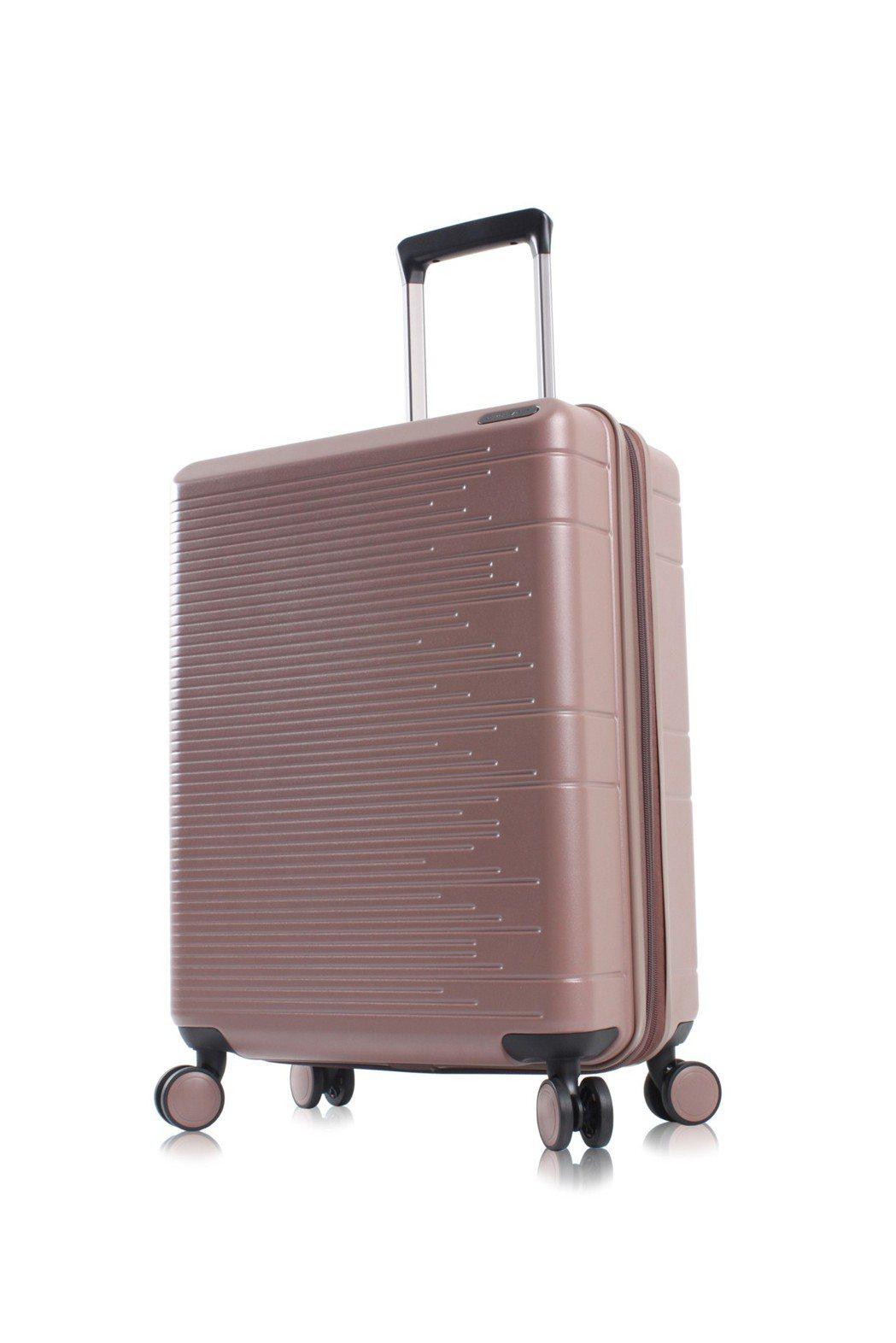 MONTAGUT「輕量防爆拉鍊質感霧面行李箱」藕粉色。 MONTAGUT /提供