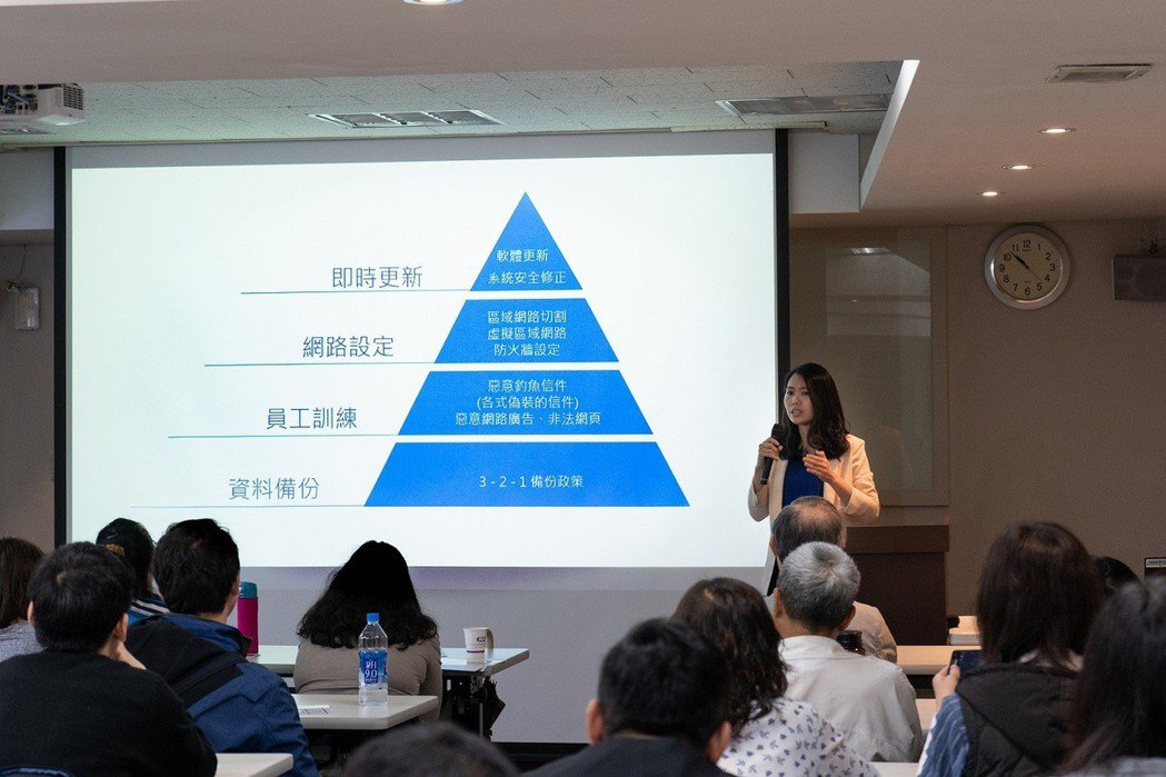 Synology產品經理黃馨慧說明,企業隨時執行檔案備份,是保護公司資產的積極作...