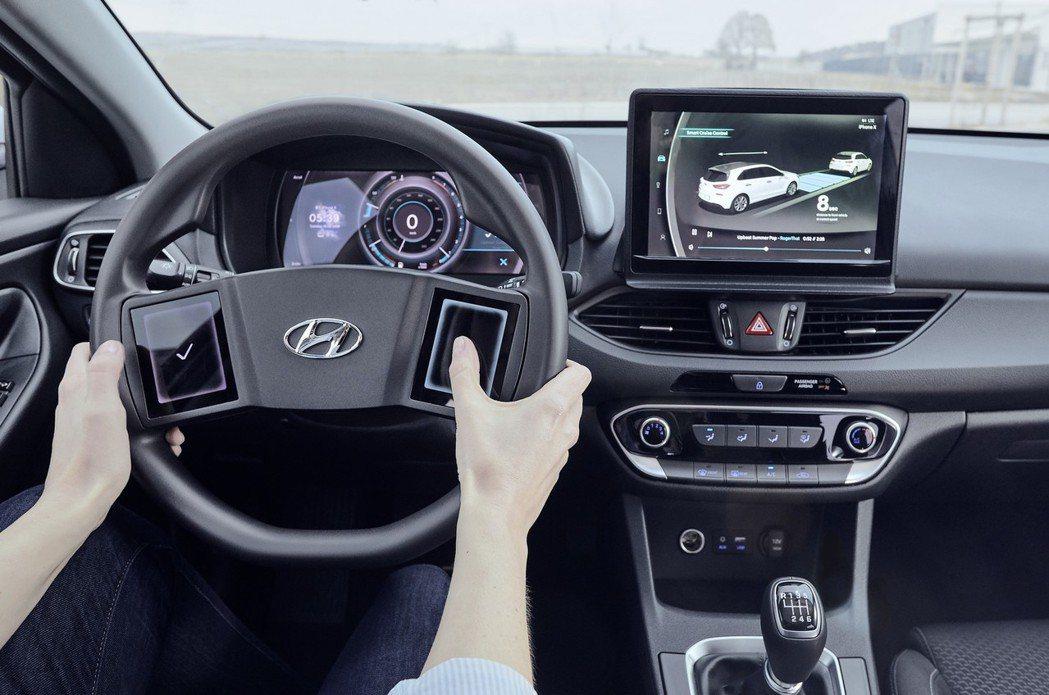Hyundai研發的觸控式方向盤上兩側按鈕,可依據需求選擇最常用的設定圖示。 摘...