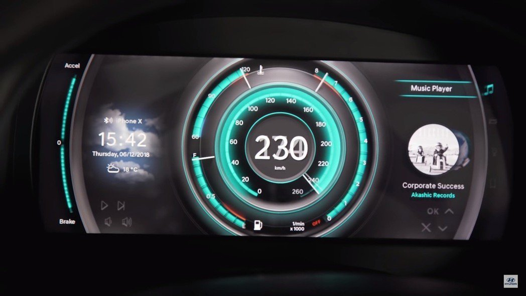 Hyundai 3D數位儀表。 截自Hyundai影片