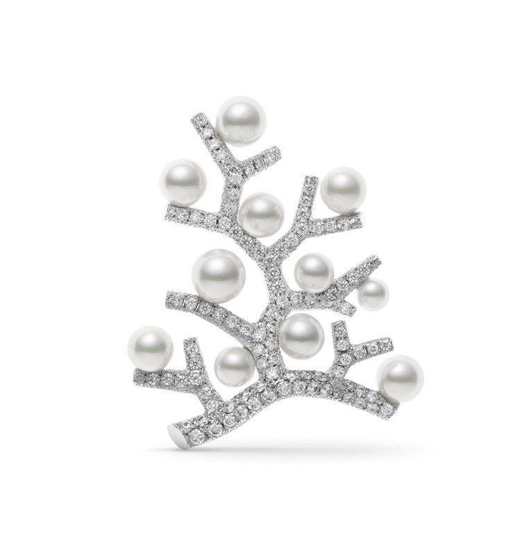 MIKIMOTO Kofuku no ki 日本Akoya珍珠鑽石胸針大型款,2...
