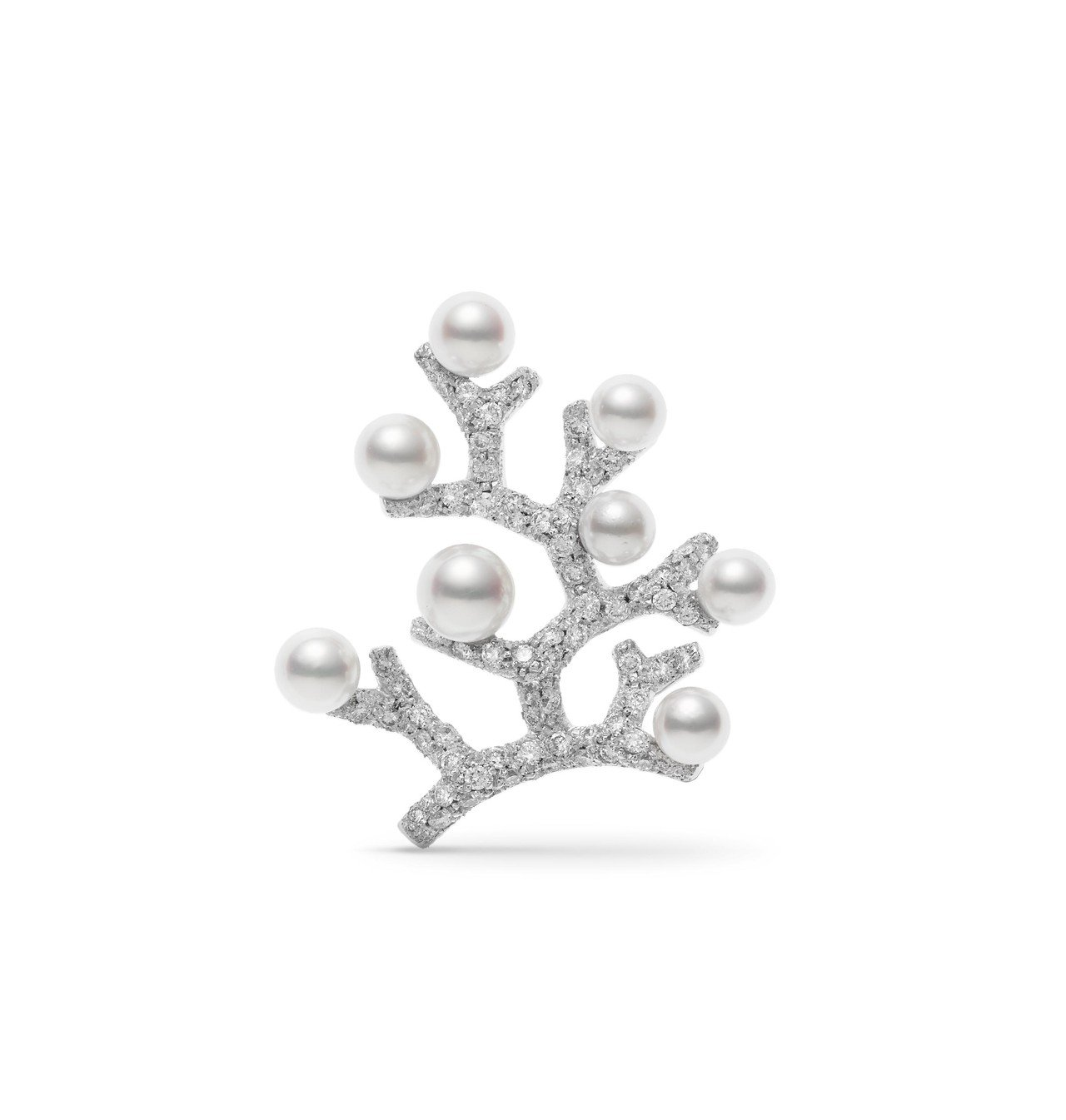 MIKIMOTO Kofuku no ki 日本Akoya珍珠鑽石胸針小型款,1...