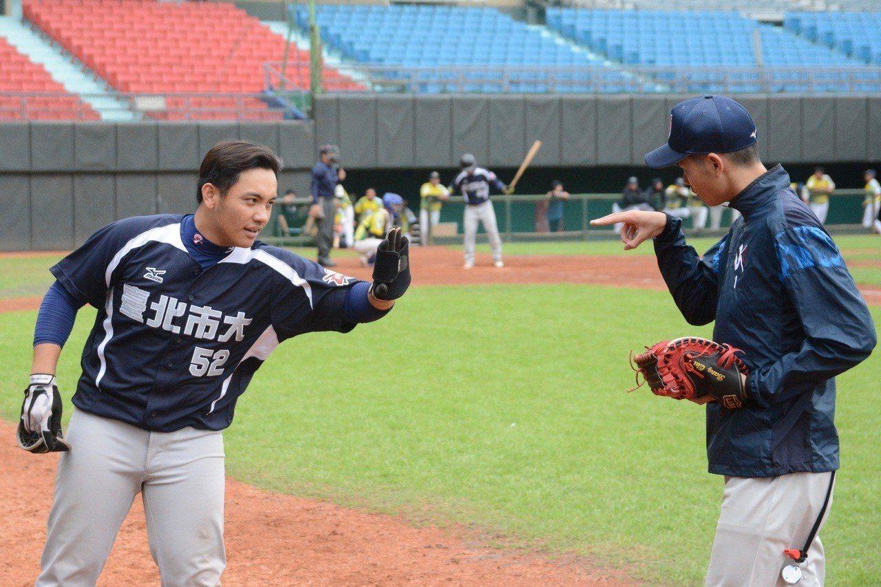 108年全國成棒甲組春季聯賽C組預賽,台北市大在六局上攻下8分,最終以16:4擊...