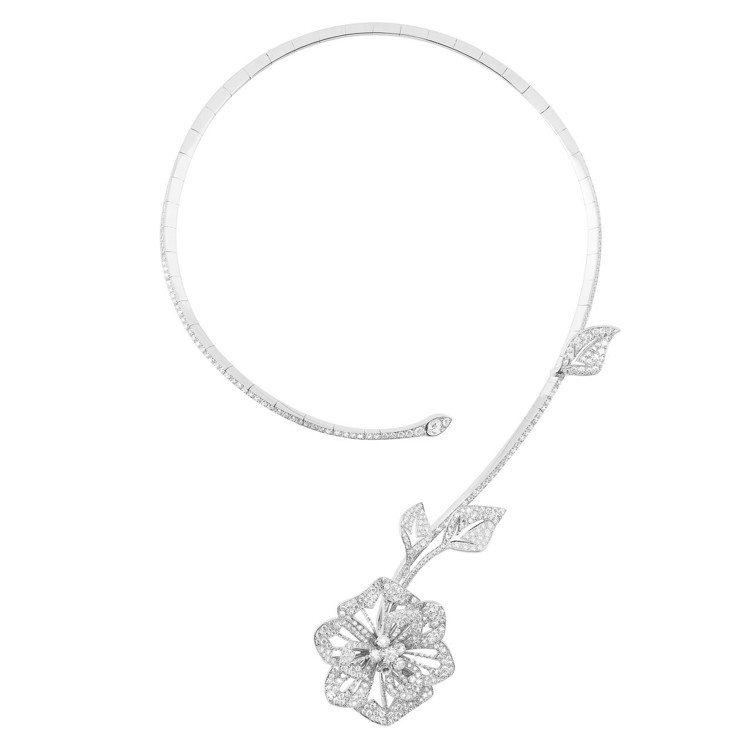 寶詩龍頂級珠寶系列Pensee紫羅蘭問號項鍊,18K白金鑲嵌鑽石共約10.94克...