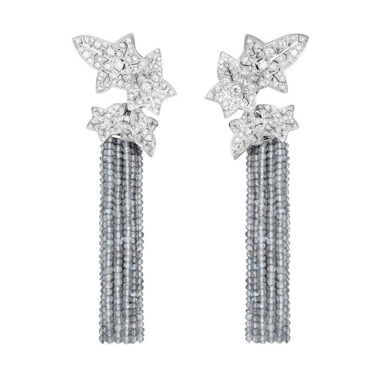 寶詩龍頂級珠寶系列Lierre de Paris常春藤耳環,18K白金鑲嵌105...