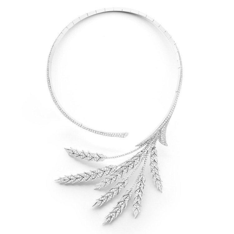 寶詩龍頂級珠寶系列BLE DETE 麥穗問號項鍊,18K白金750材質鑲嵌鑽石共...