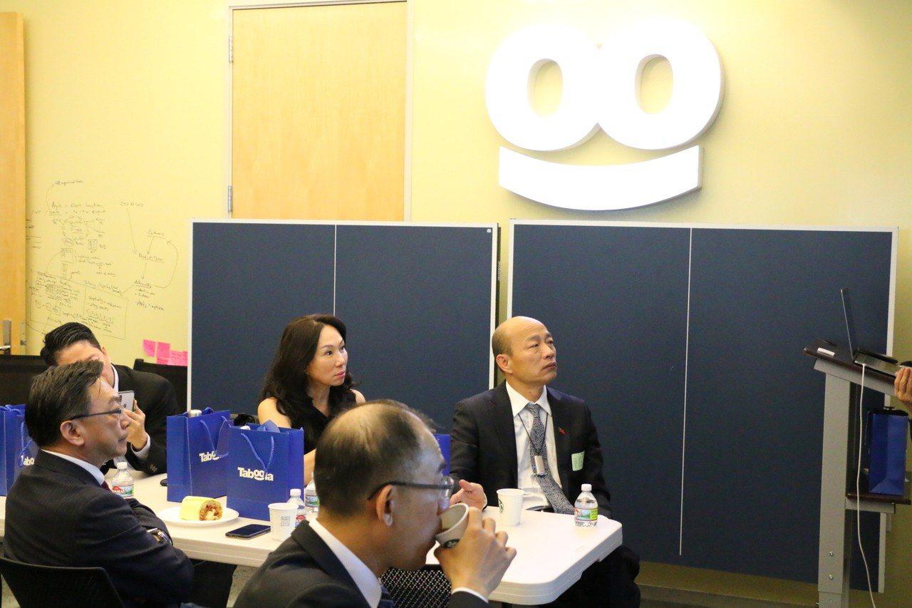 美西時間4月13日上午高雄市長韓國瑜參訪高科技產業Taboola,了解大數據分析...