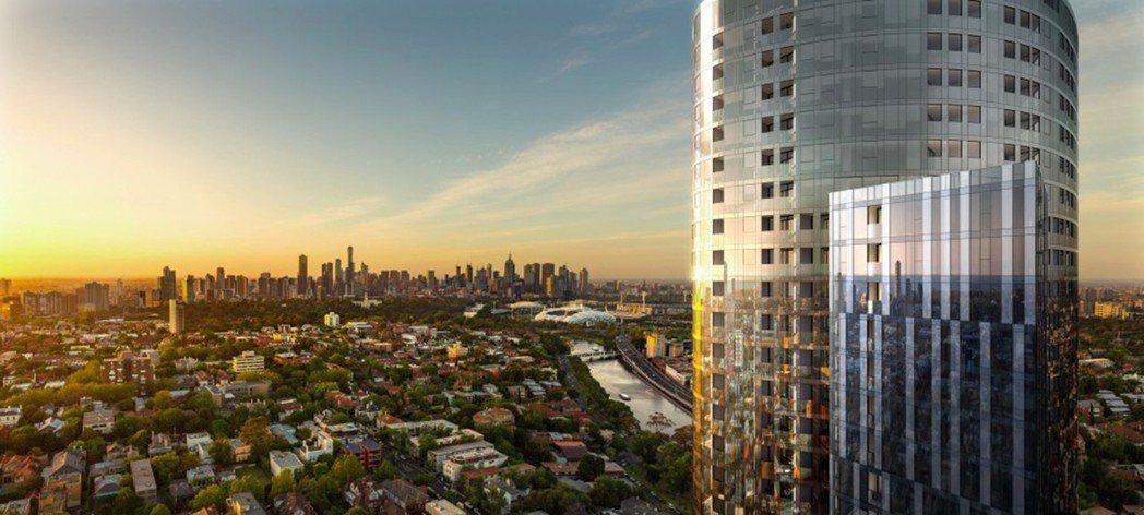 「Yarra One」橢圓形塔樓外觀昂首於南雅拉,未來將是城市全新地標。 海瑞國...