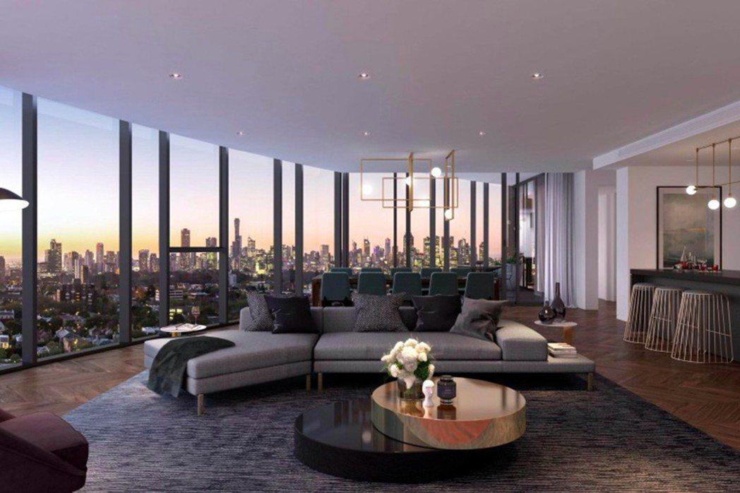 「Yarra One」共26層高,高樓層可飽覽城市風景,享受愜意時光。 海瑞國際...