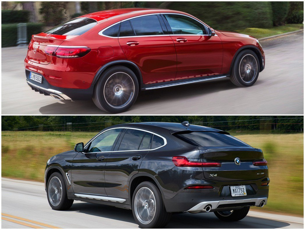 圖為新世代BMW X4、小改款Mercedes-Benz GLC Coupe。 ...