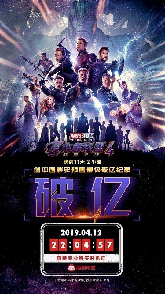 《復仇者聯盟4:終局之戰》在大陸市場24日(23日零點)才要首映,不過,預售票昨...