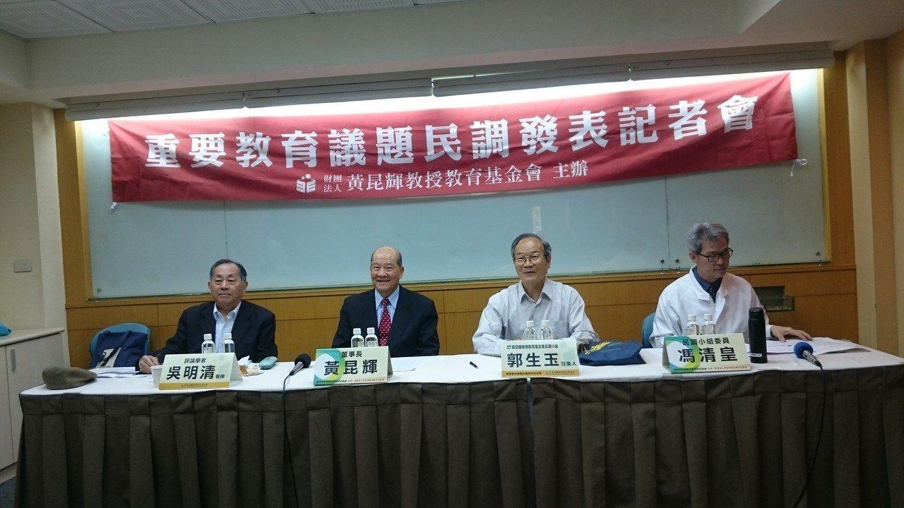 黃昆輝教授教育基金會今天公布「重要教育民意調查」結果,77%民眾同意政府應盡快公...