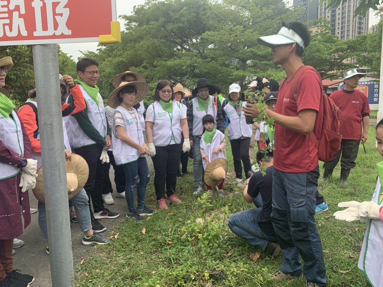 現場參與的民眾,在梧桐基金會經過國際認鎮的樹藝師帶領下,一起種植地被植物「蔓花生...