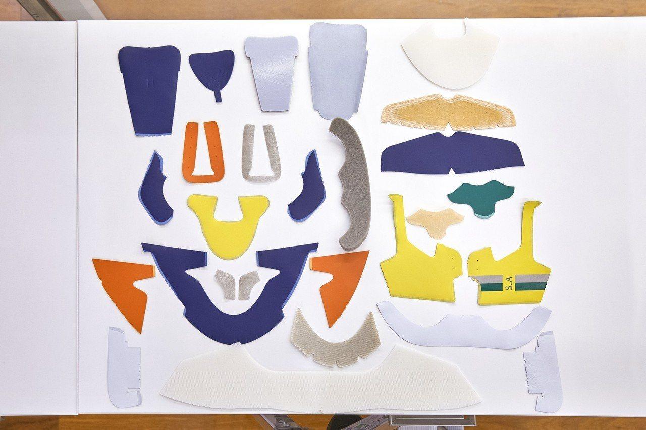 球鞋的各式皮料。圖/LV提供