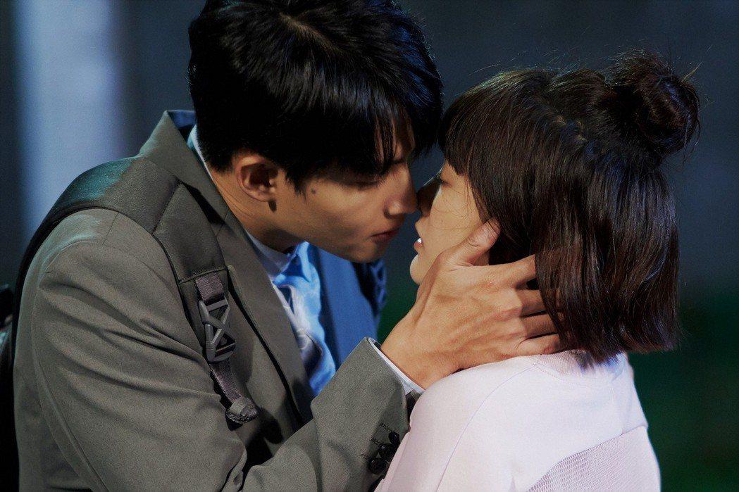 王淨、張庭瑚在「愛情白皮書」劇中有不少吻戲。圖/東森提供