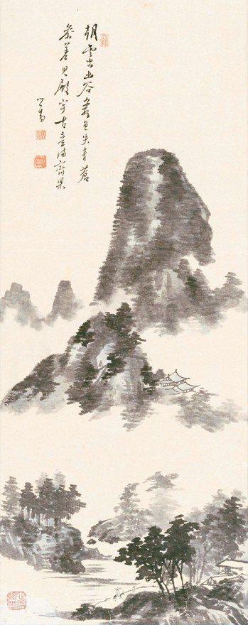 溥心畬作品「朝雲出幽谷」於今年帝圖春拍登場。 帝圖/提供