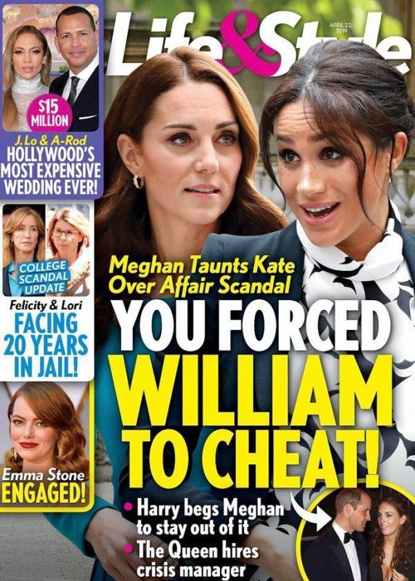 英國皇室兩位王子的妻子梅根與凱特,再被美國八卦雜誌指不和。圖/摘自Life &