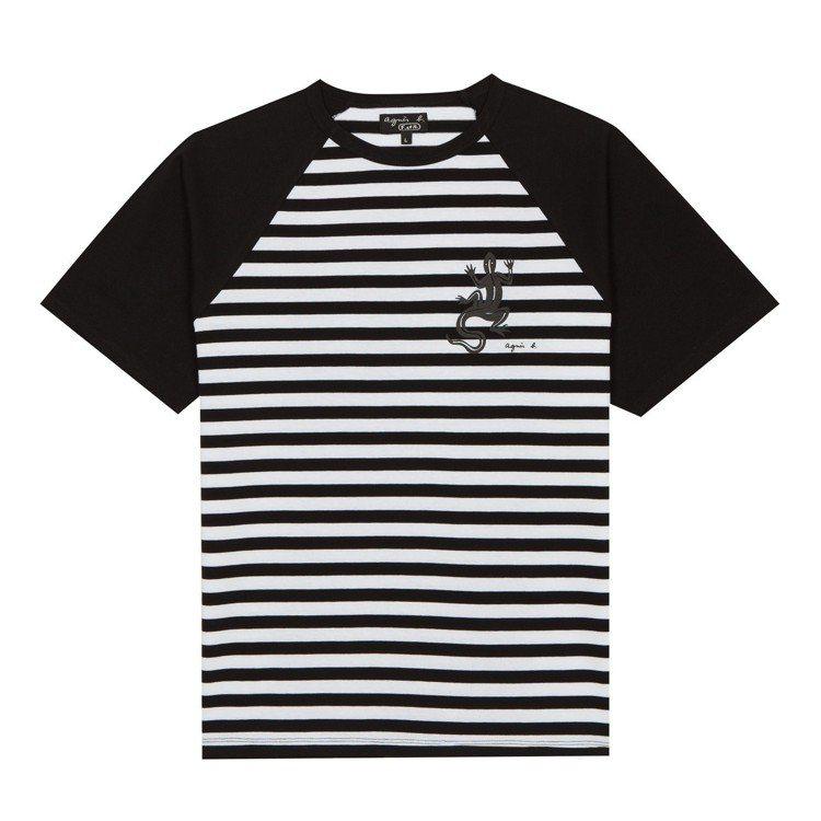 蜥蜴圖騰條紋T恤,4,980元。圖/agnès b.提供