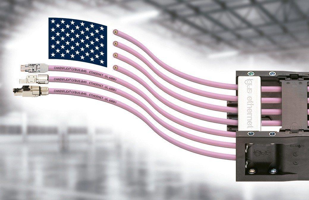igus開發出具有600伏UL認證的長使用壽命乙太網電纜。 德商台灣易格斯公司/...