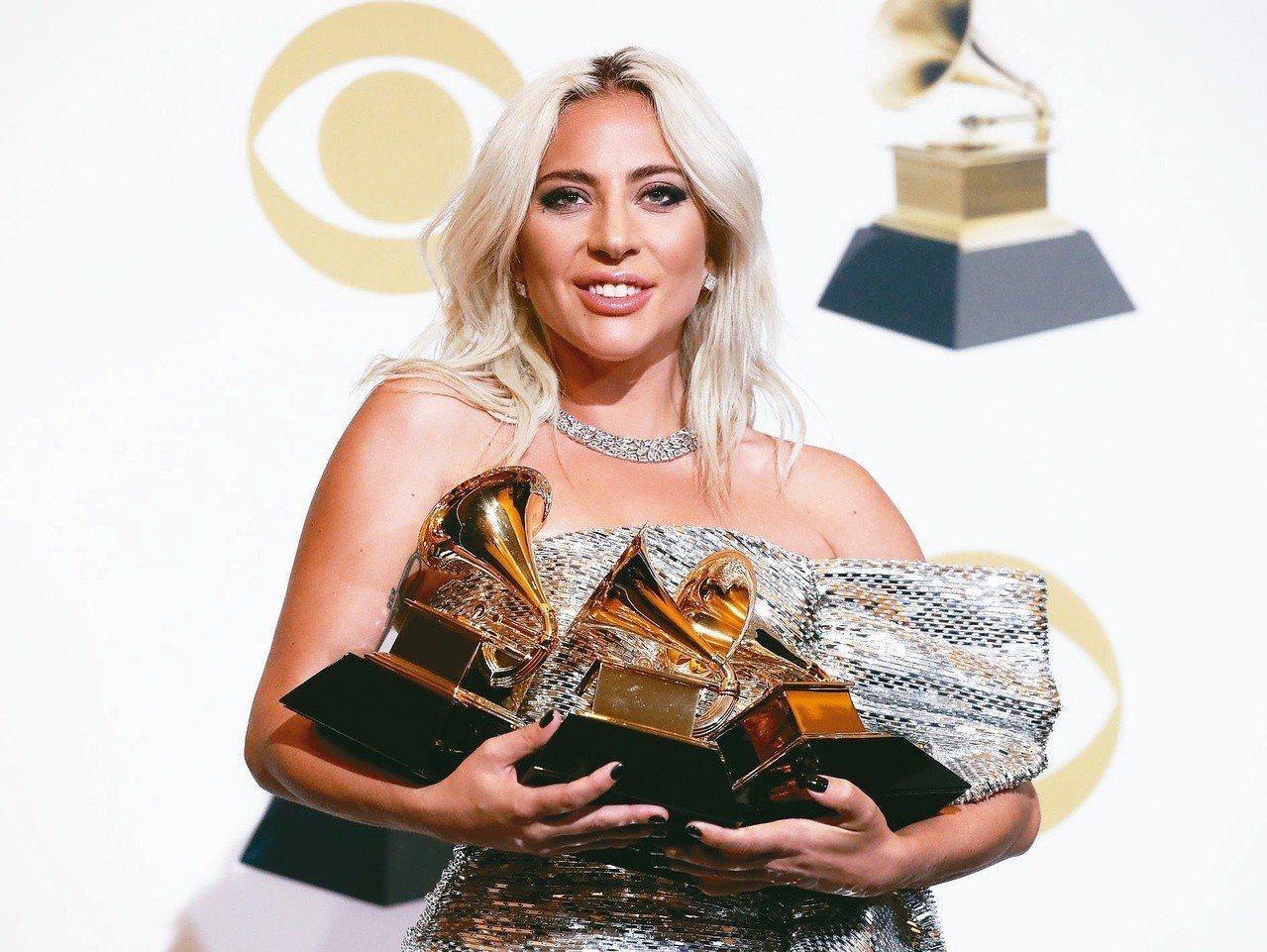 女神卡卡勇奪2019年葛萊美獎最佳流行歌手等3項大獎。(圖/聯合報系新聞資料庫)
