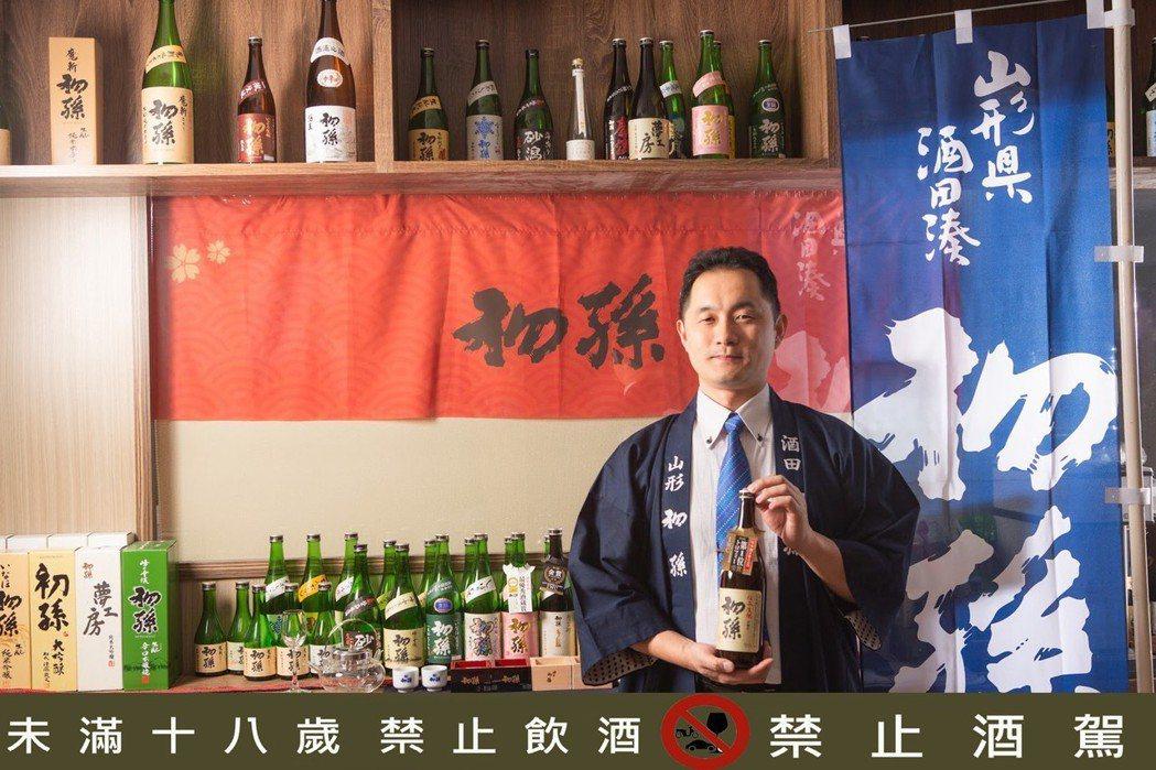 西村純擁有四分之一台灣血統,致力把「初孫」清酒引進台灣讓行家欣賞。 西村純/提供