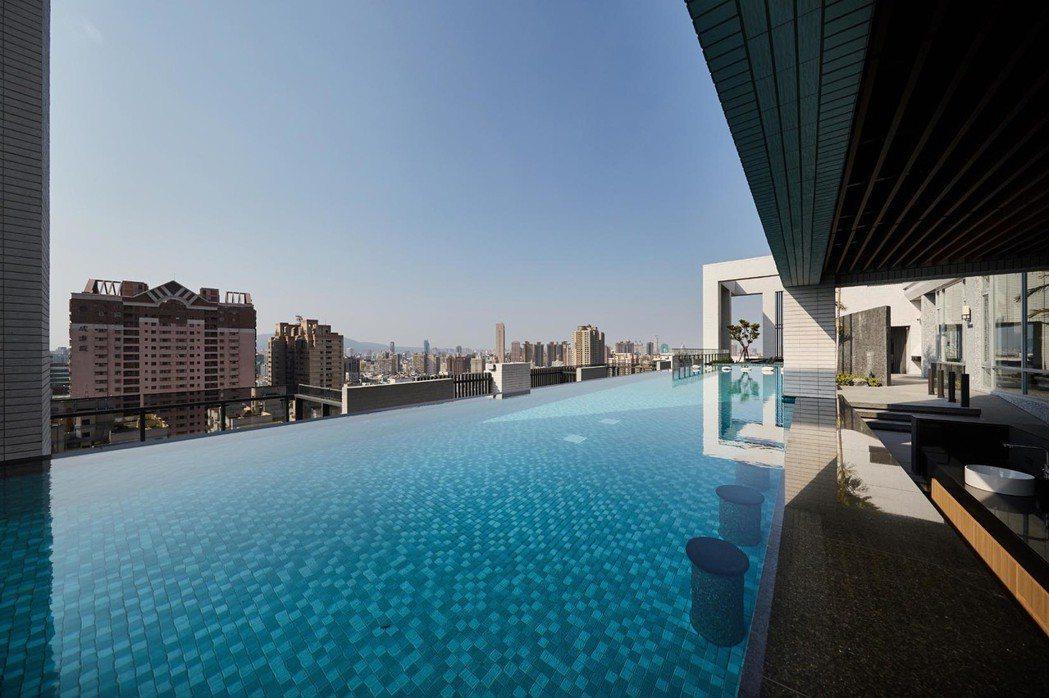 獨享凌空無邊際泳池無垠風光,國際級城心豪景一次收攬。圖片提供/三發地產