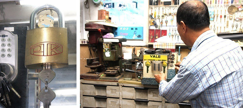 (左)黃振義自行設計、申請專利的巨無霸U盤金屬鎖。 (右) 在加工出口區興盛的年...