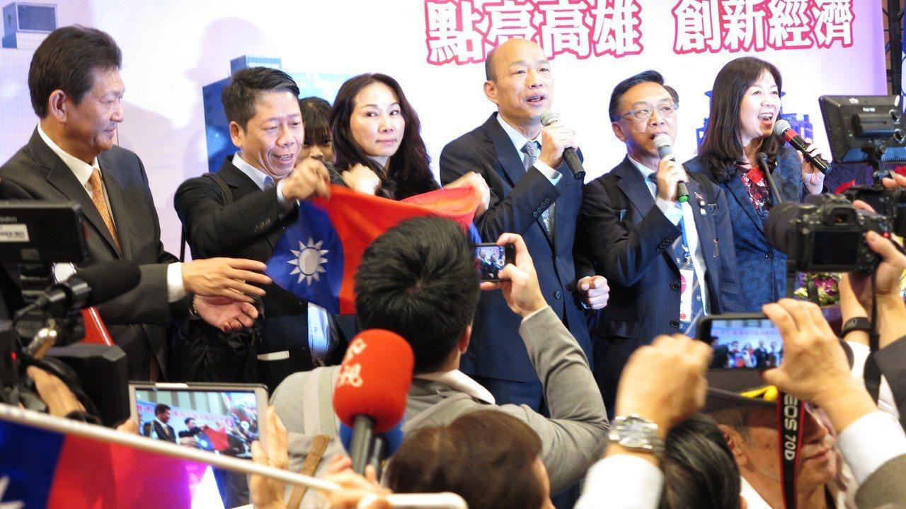 韓國瑜在洛杉磯演講,現場促選總統聲音不絕於耳,氣氛宛如選戰造勢大會。記者王慧瑛/...