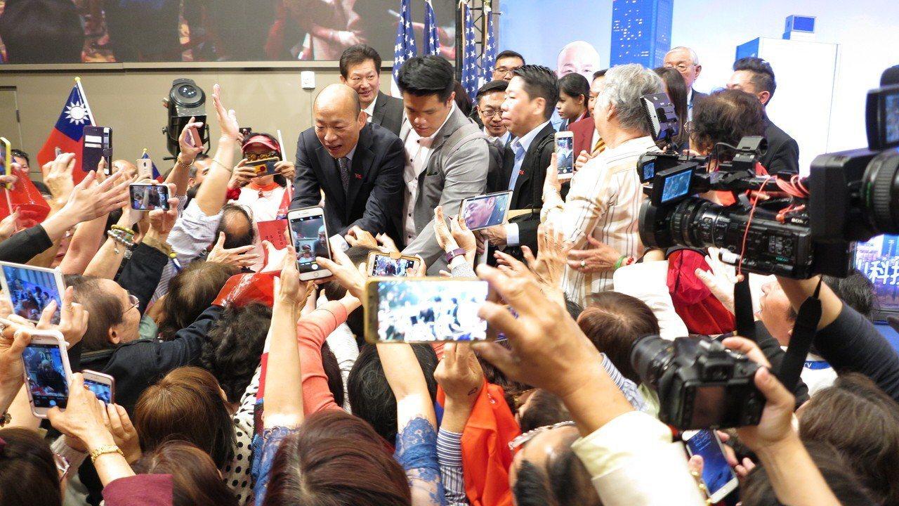 高雄市長韓國瑜美西出席一場千人演講會,主題為「點亮高雄、創新經濟」,吸引上千名華...