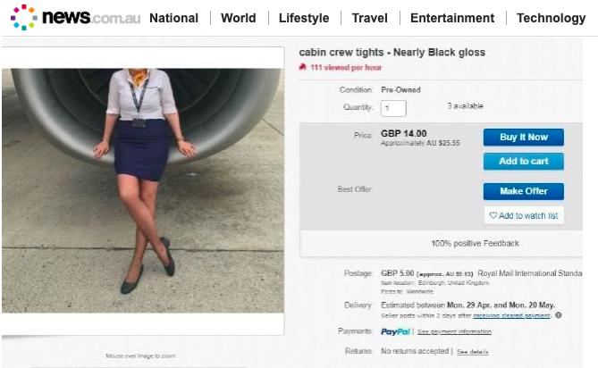 拍賣網站eBay有人銷售女性空服員的二手絲襪。翻攝自news.com.au網站