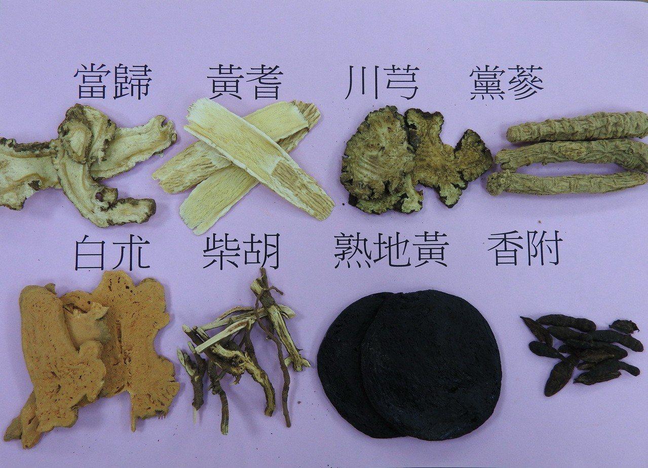 以柴胡、香附、當歸、黃耆等中藥疏肝理氣養血調經。圖/台南市立醫院提供