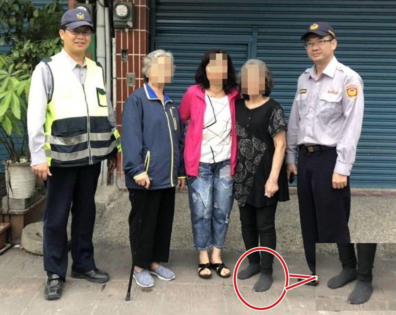 77歲林姓老婦人(右二)從台中到台東尋親迷途400里,腳上只穿著襪子(小圖)走在...