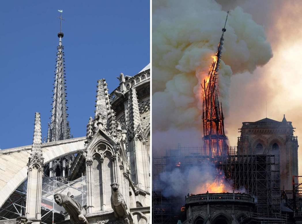 法國巴黎聖母院15日發生火災,著名的尖塔在烈焰中倒塌(右圖); 左圖為2018年...
