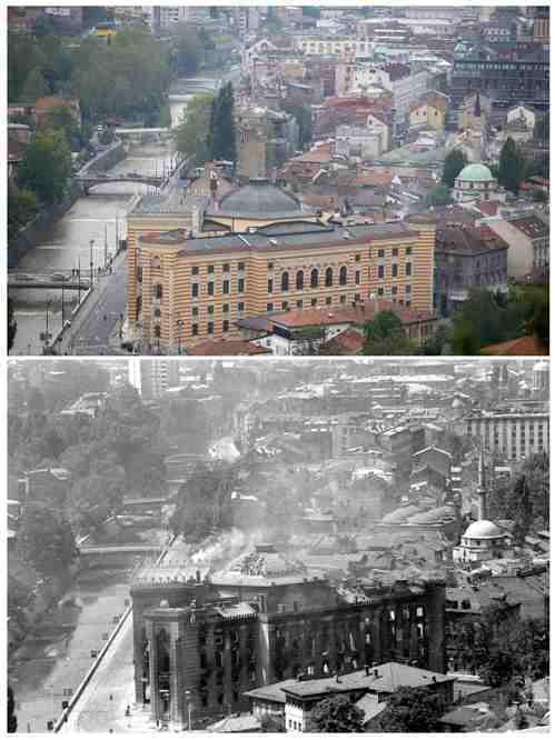 波士尼亞國家圖書館今昔對比照。(路透)