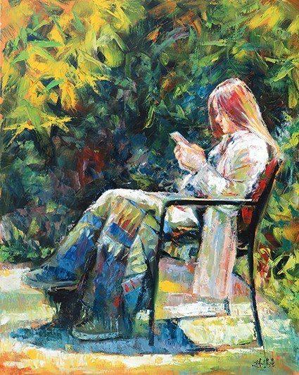 林授昌,〈拉號部落初夏〉,油畫,30F。 新竹市美術協會/提供