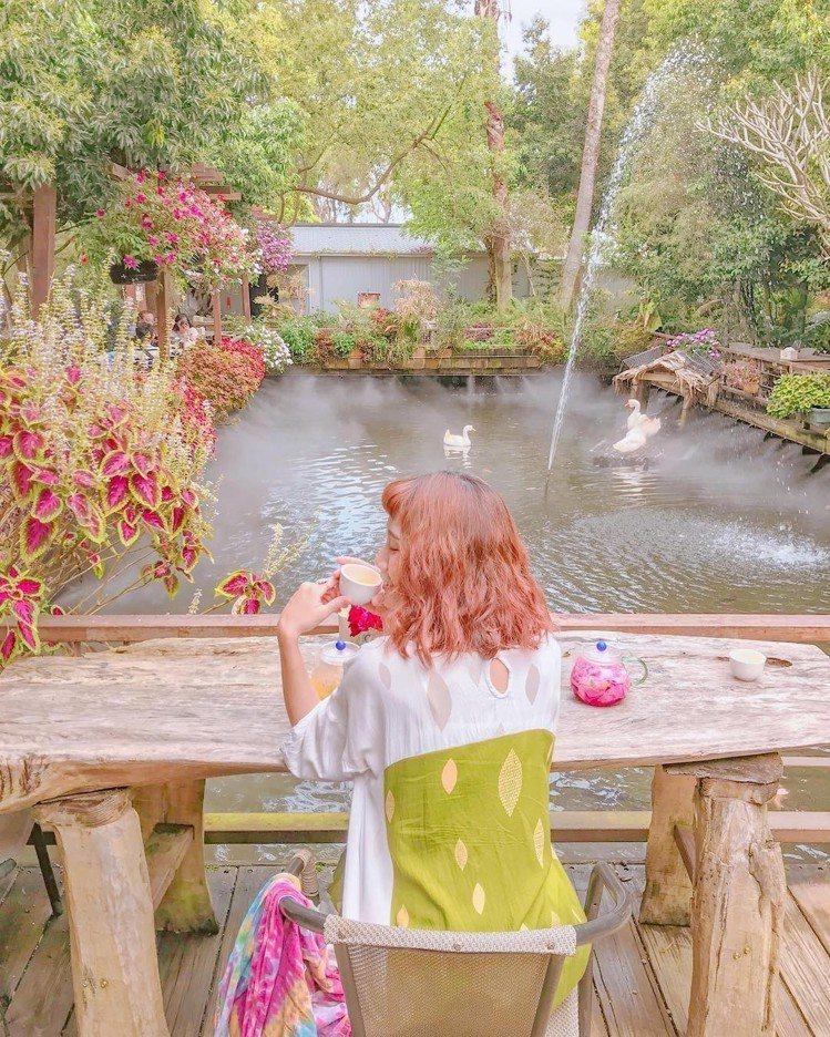 圖/在園區內喝個美美的下午茶,池塘內還有小動物在游泳。網友zora.taiwan...