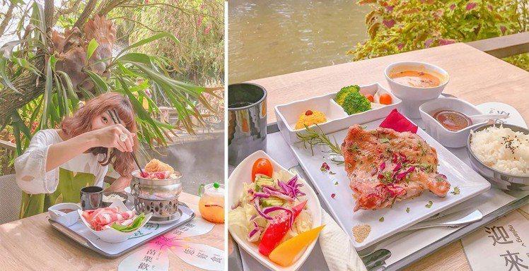 圖/園內餐點日式小火鍋、迷迭香雞腿排套餐。網友zora.taiwan授權