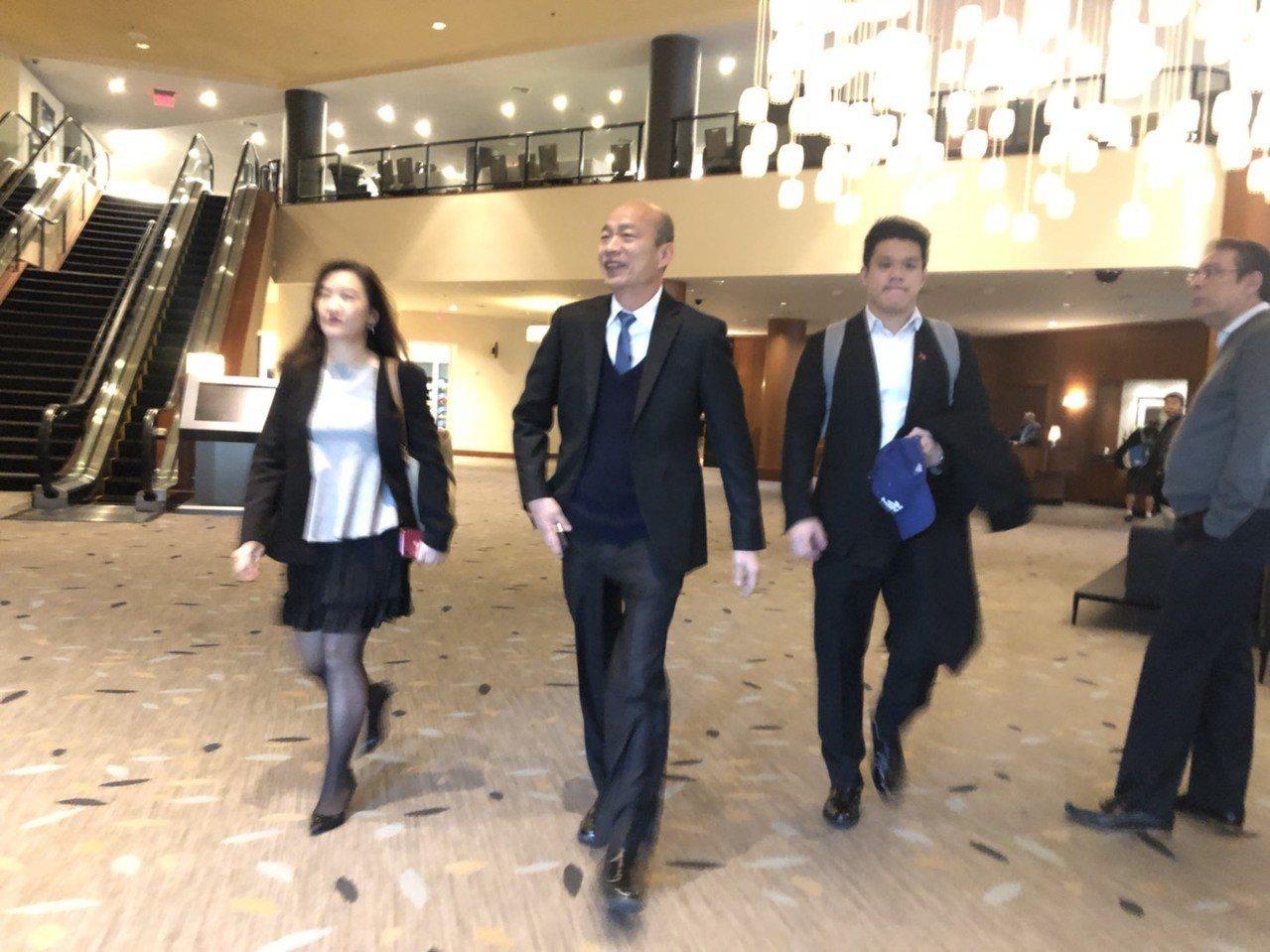 韓國瑜赴史丹福大學與學生座談、演講,報告台灣民主政治的發展。記者王慧瑛/攝影
