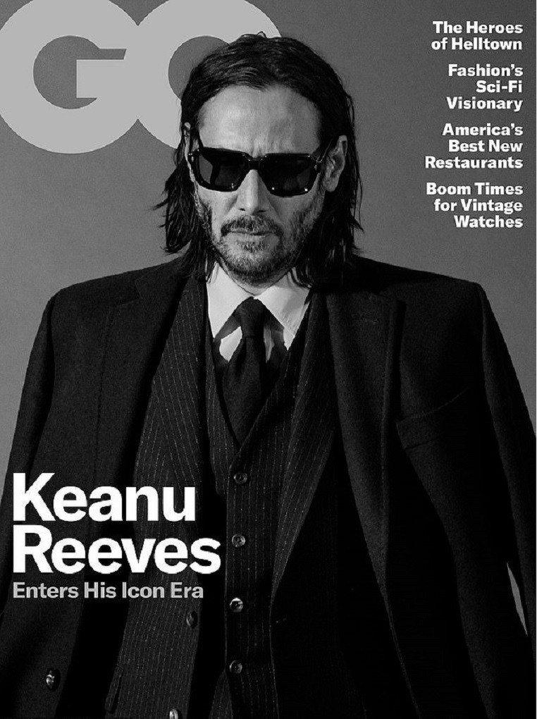 54歲基努李維登上雜誌封面,展現資深型男的帥氣。圖/摘自GQ