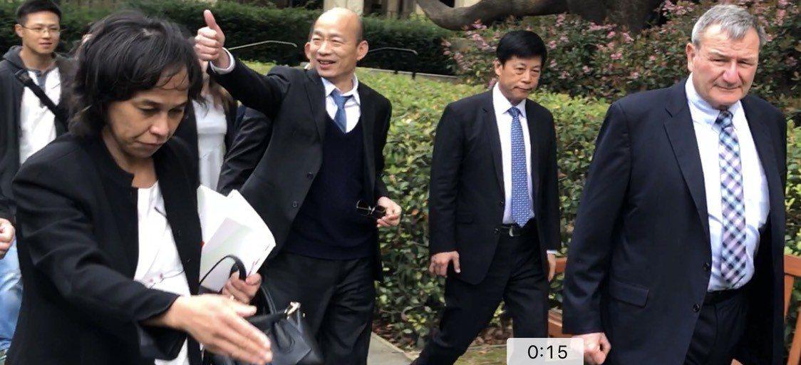 高雄市長韓國瑜參觀暫存在胡佛研究所的兩蔣日記檔案,約停留1小時。圖/讀者提供