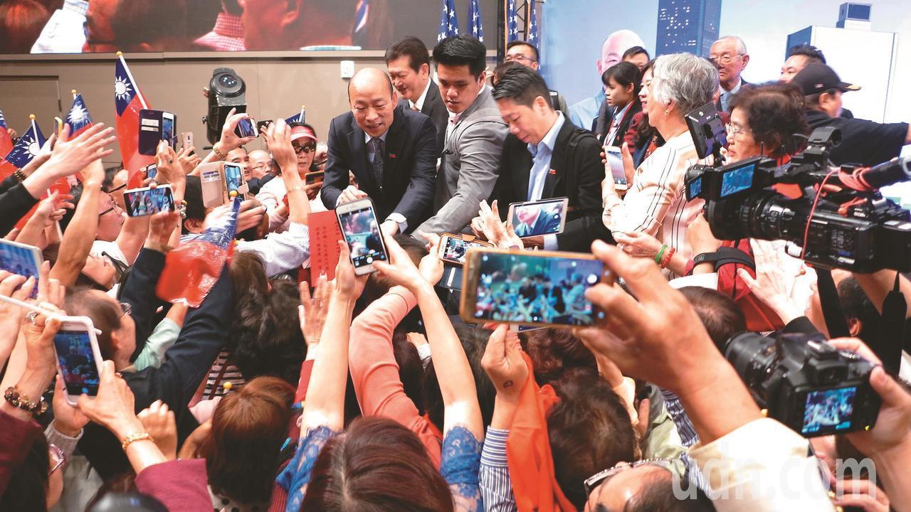 高雄市長韓國瑜在洛杉磯演講,吸引上千華僑參與。記者王慧瑛/攝影