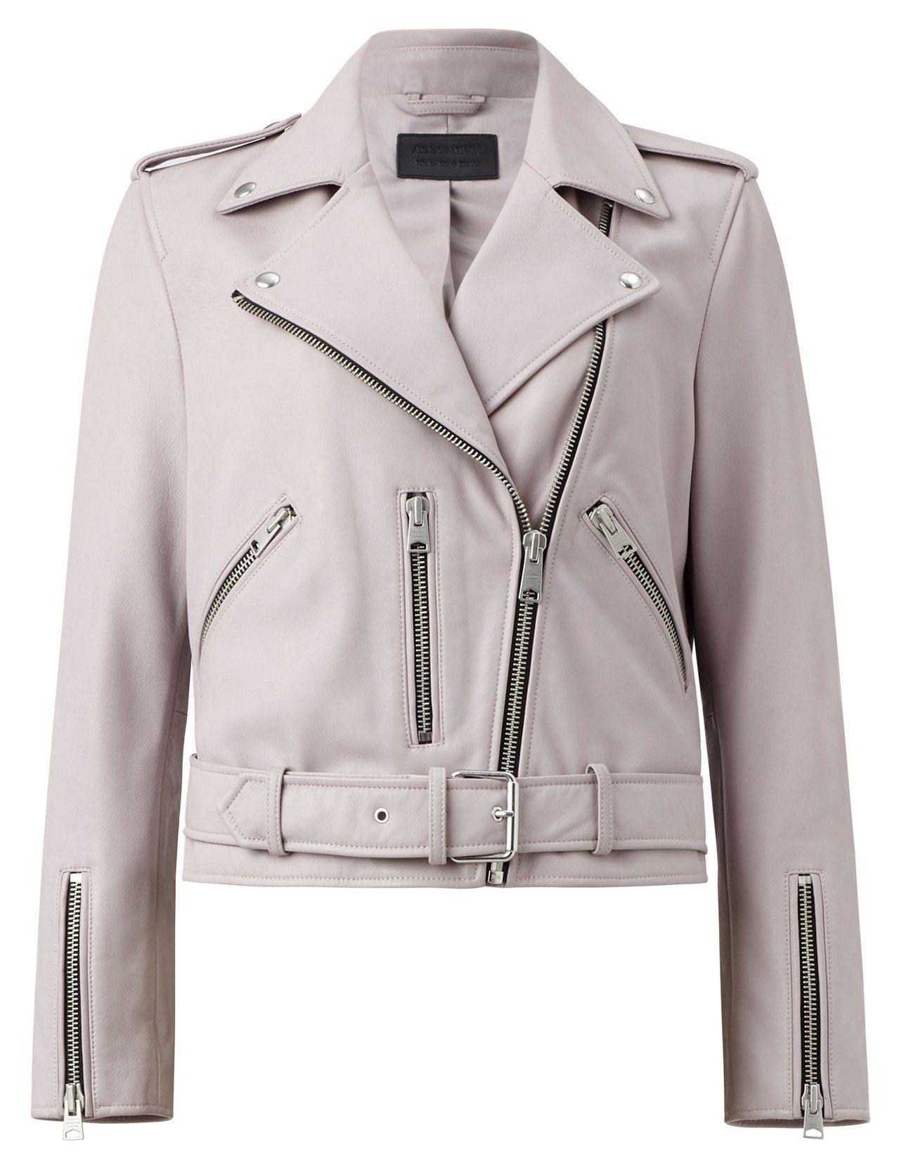 AllSaints Balfern粉色騎士夾克17,900元。圖/AllSain...