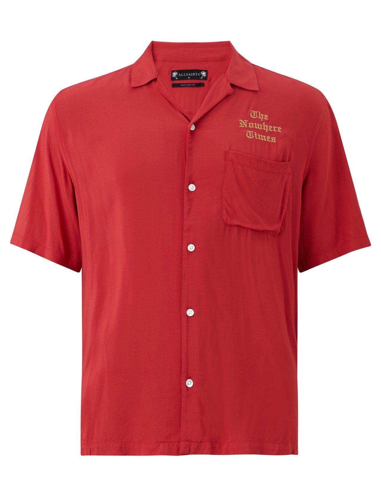 AllSaints Oblivion紅色刺繡襯衫,價格店洽。圖/AllSaint...