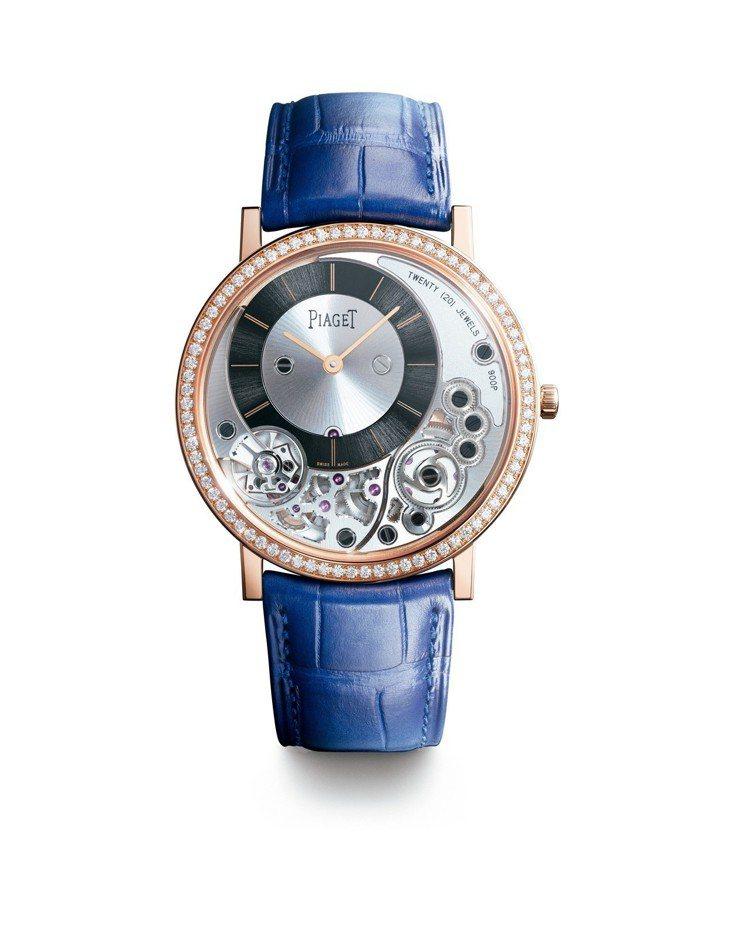 胡歌配戴伯爵Altiplano 900P系列腕表,38毫米18K玫瑰金鑲鑽表殼、...