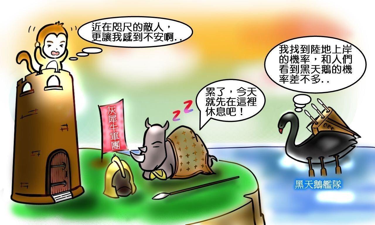 新聞報導常用黑天鵝、灰犀牛套用在金融圈,央行以一則漫畫說明黑天鵝和灰犀牛到底誰比...
