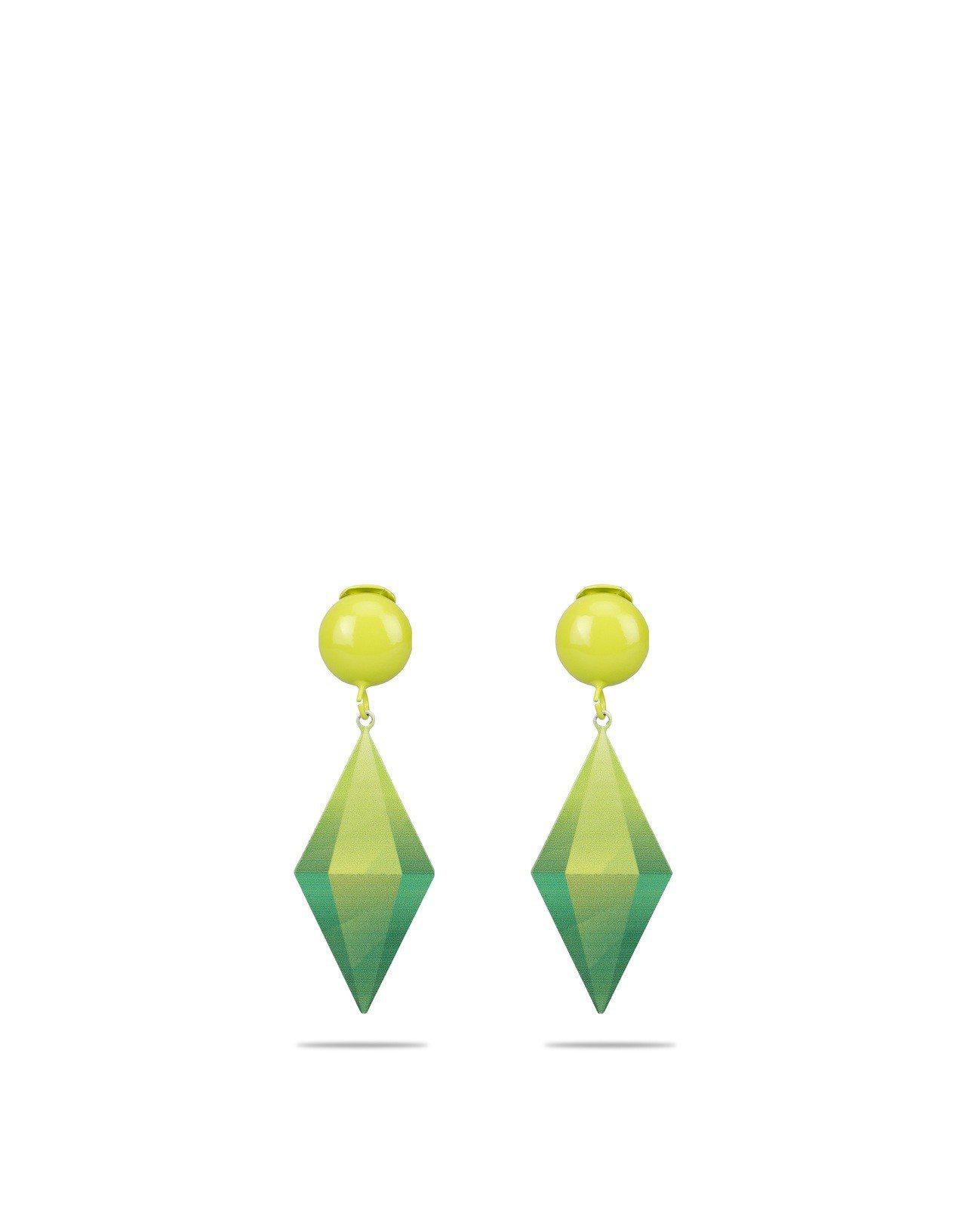模擬市民遊戲裡經典的綠水晶變成耳環。圖/Moschino提供