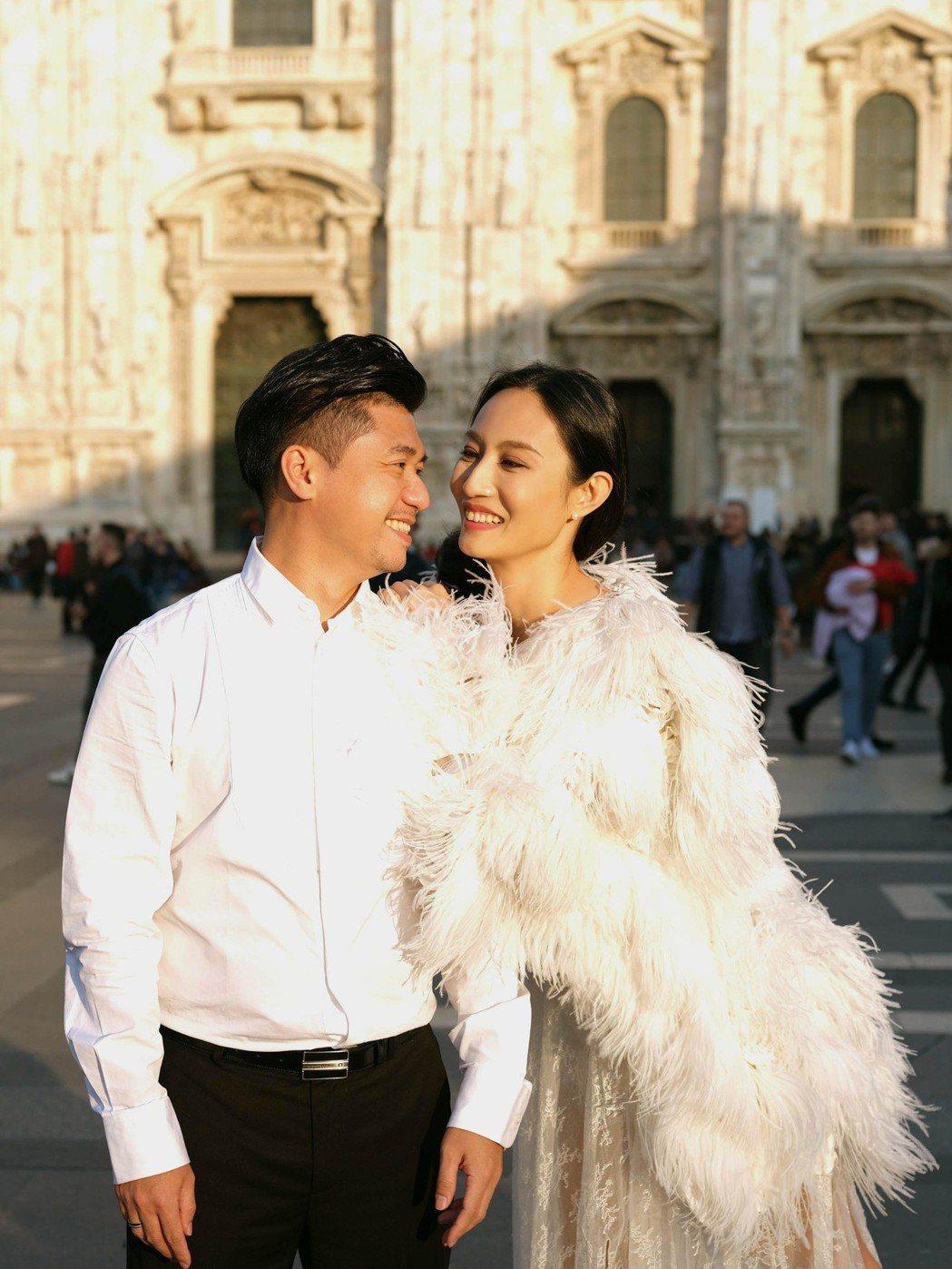 凱渥名模Jill邱馨慧與鞋料供應商未婚夫拍攝婚紗照。圖/凱渥提供