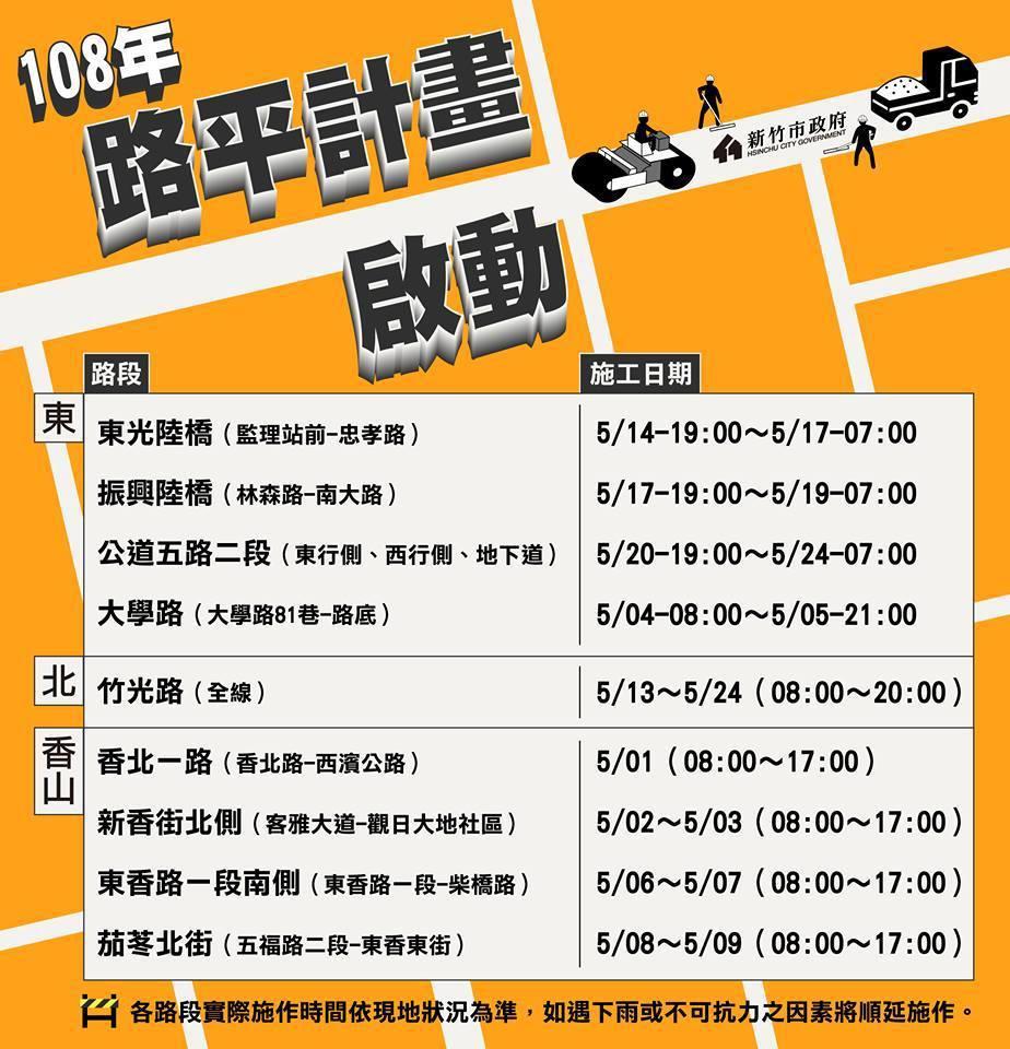 新竹市府每年例行計畫「路平專案」明天啟動,第一階段明起至5月共有18條重要道路都...